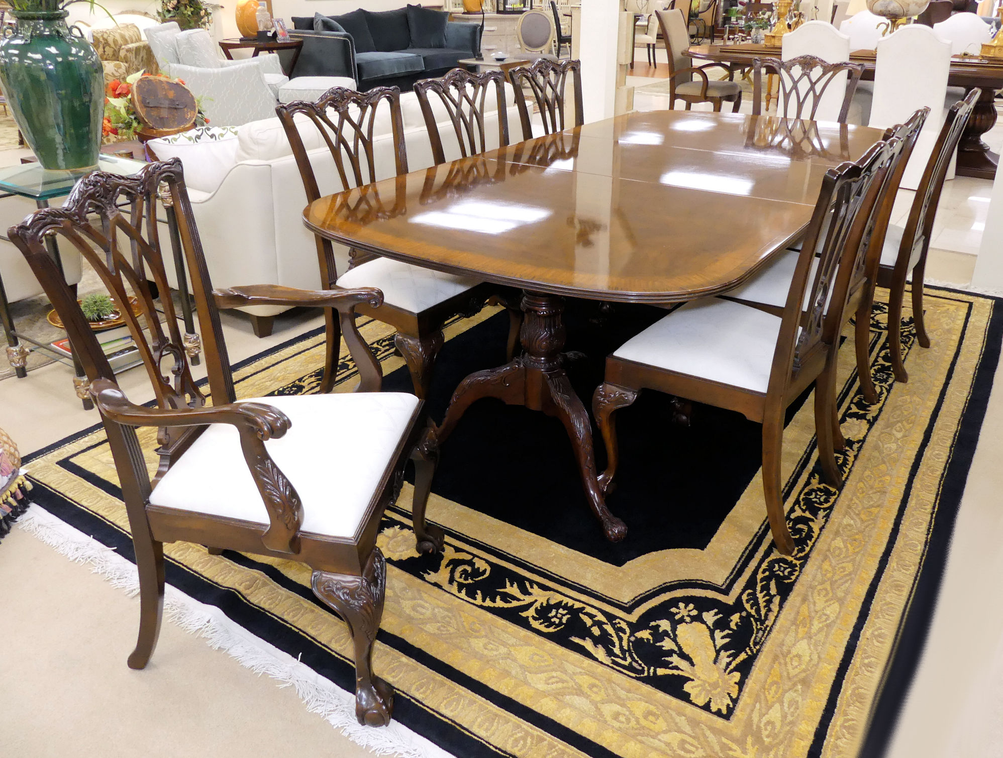 SOLD  Drexel Heritage Chippendale Mahogany Dining Room Set