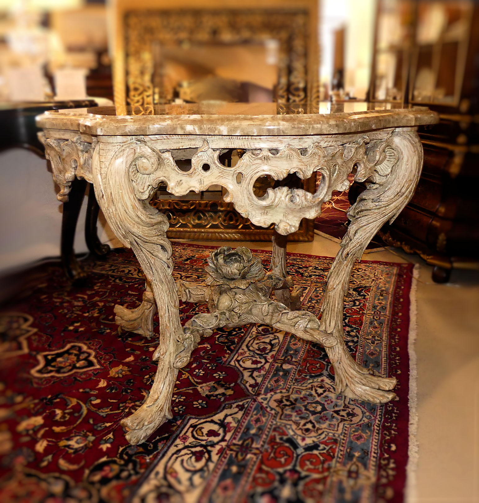 SOLD William Switzer Hand Carved Wood Center Table with Marble Top