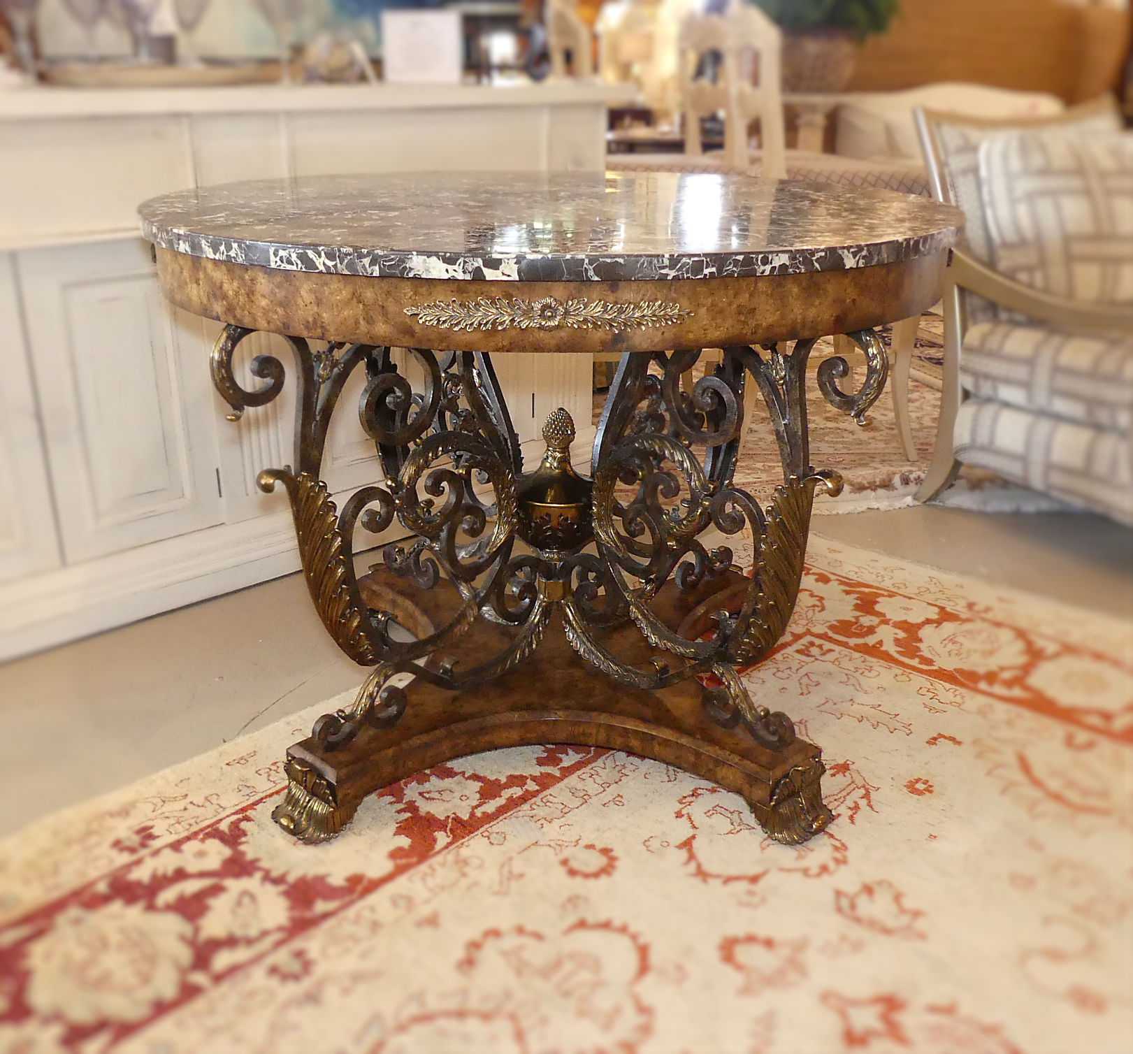 SOLD   Maitland Smith Burl Wood and Iron Center Table with Marble Top and Brass Mounts