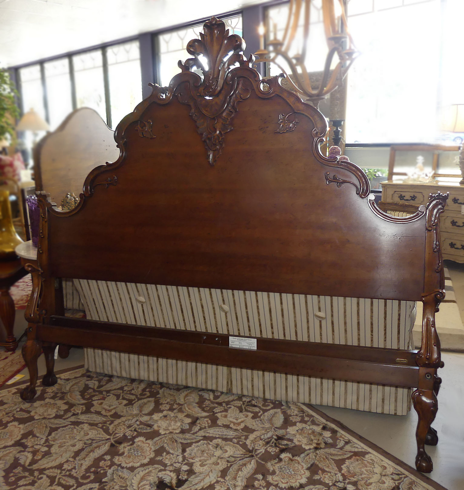 "SOLD  Ralph Lauren""Hudson"" French Country King Size Carved Wood Bed In Mahogany"
