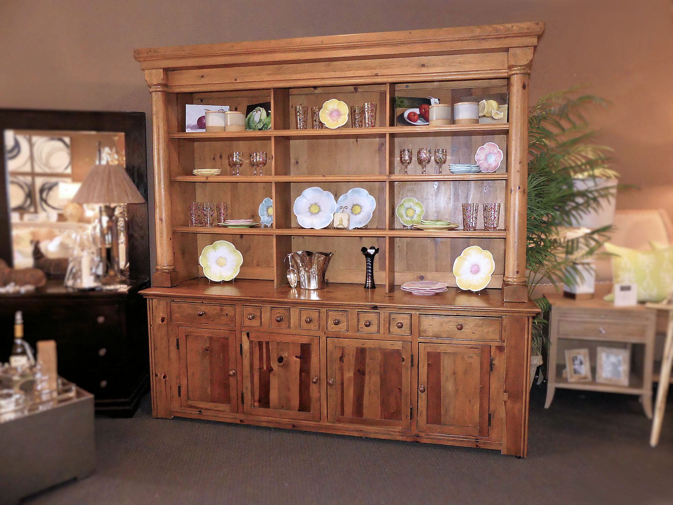 SOLD  Ralph Lauren Solid Pine Display Hutch