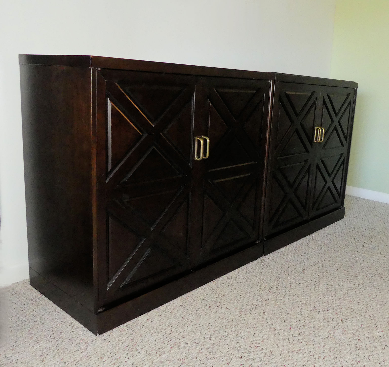 2-Piece Mahogany Dry Bar Cabinet Set Attributed to Johnson Furniture for Directional Industries