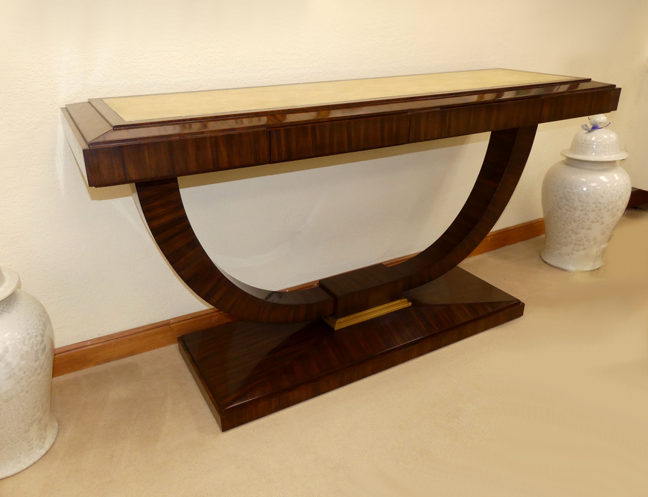 SOLD  Maitland Smith Contemporary Rosewood Console Table with Natural Shagreen Inlay