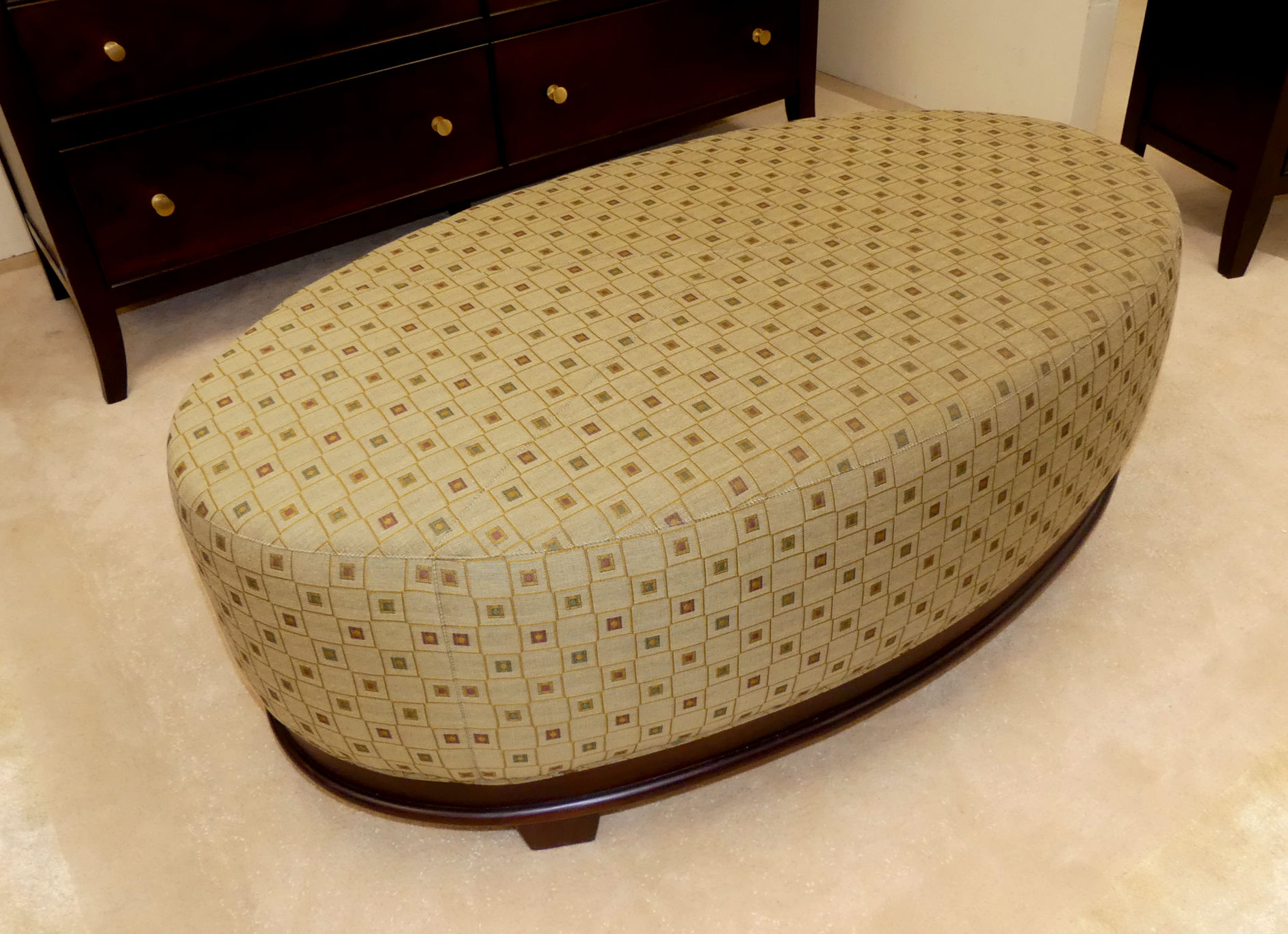 SOLD Baker Barbara Barry Oval X-Stitched Cocktail Ottoman