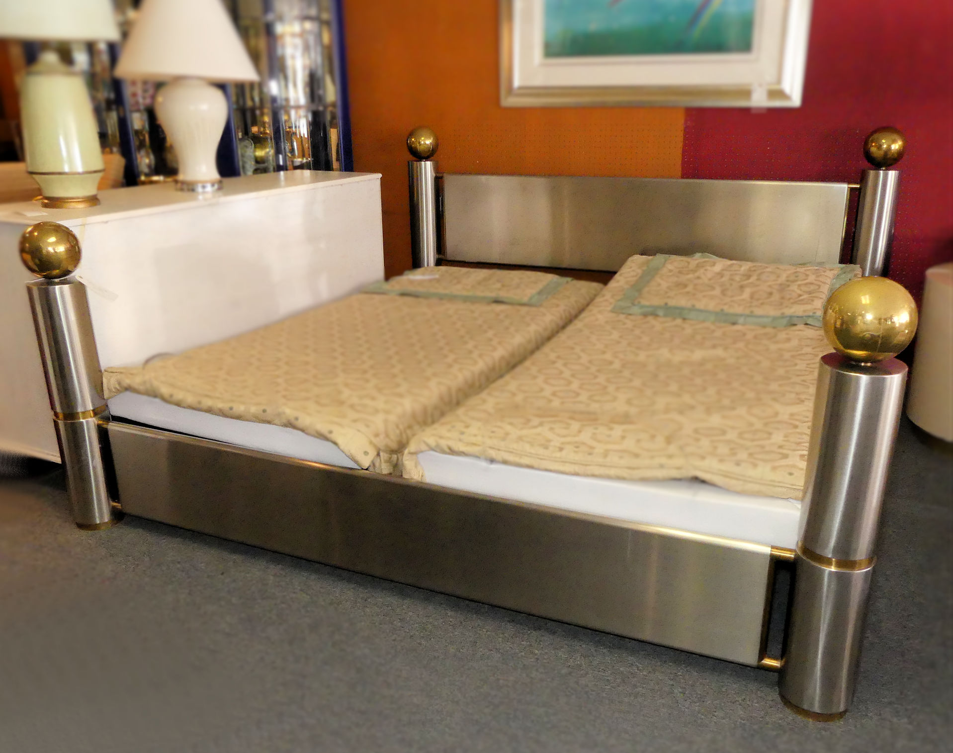 SOLD Mid-Century Modern Metal and Brass King Size Bed