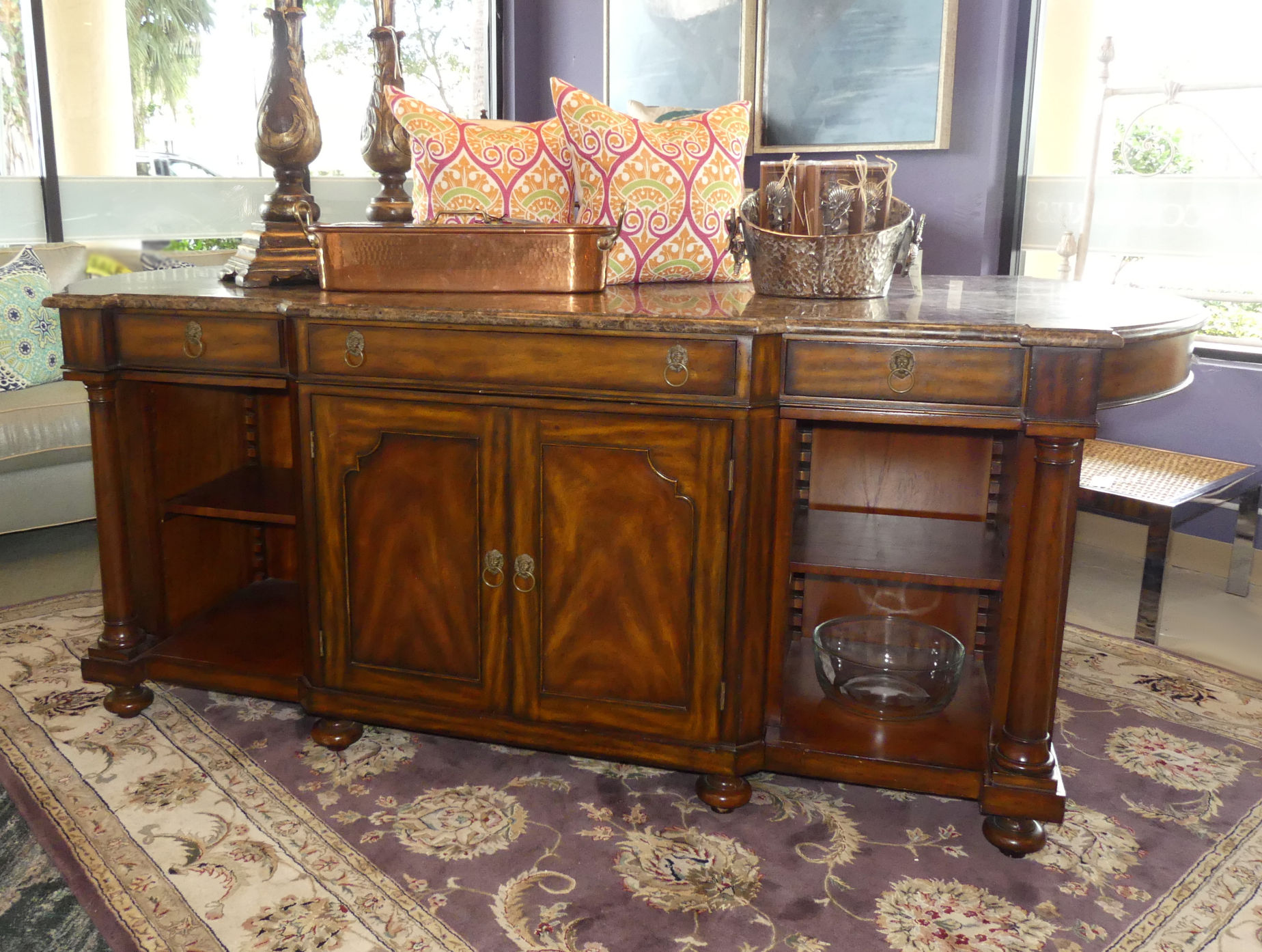 SOLD  Matiland Smith Marble Top Mahogany Kitchen or Closet Island