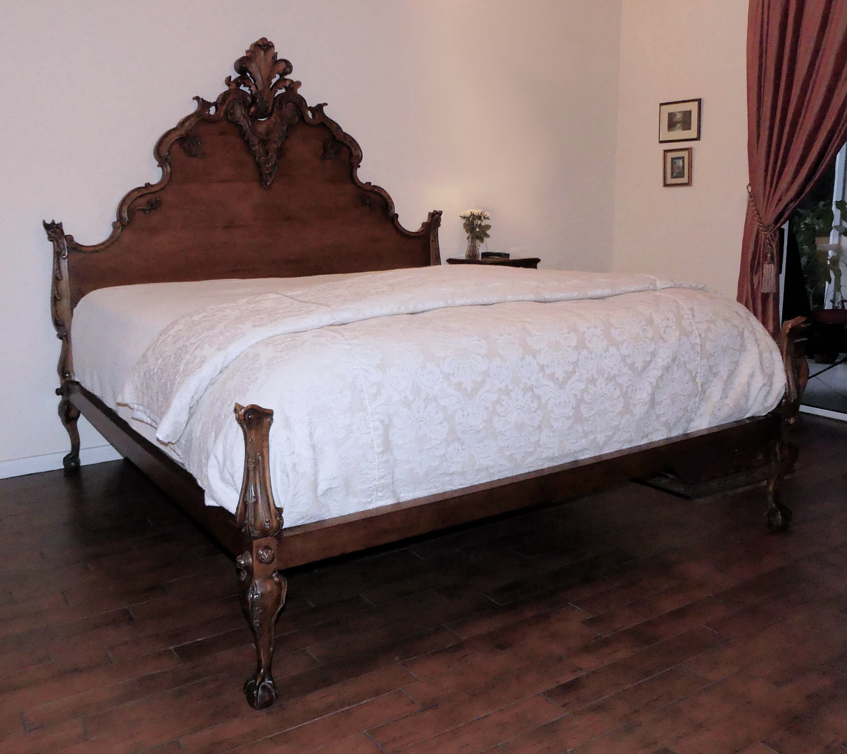 "SOLD  Ralph Lauren""Hudson"" French Country King Size Carved Wood Bed In Walnut Made in America by Henredon"