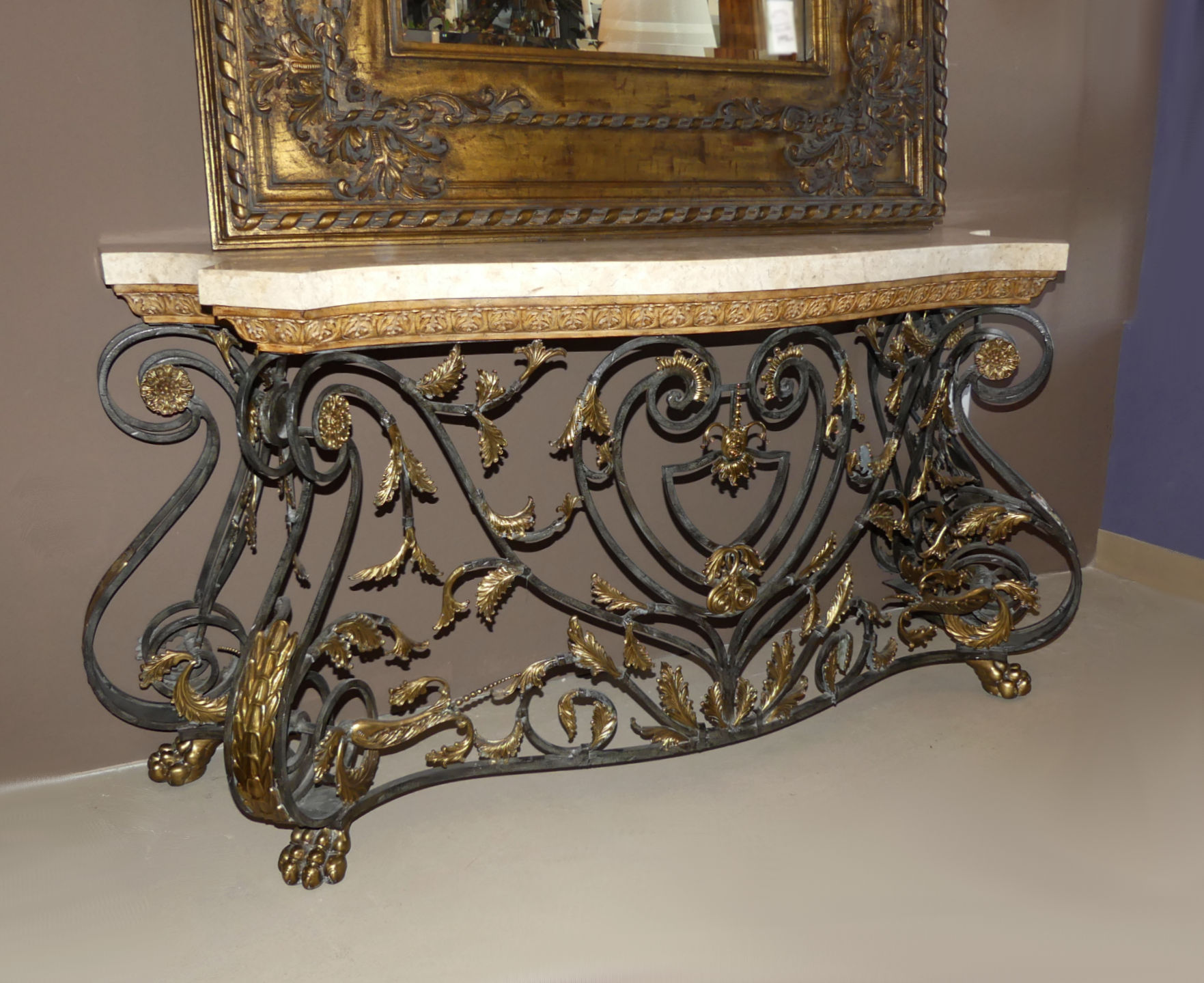 SOLD Maitland Smithe Marble Top Iron and Brass Console Table