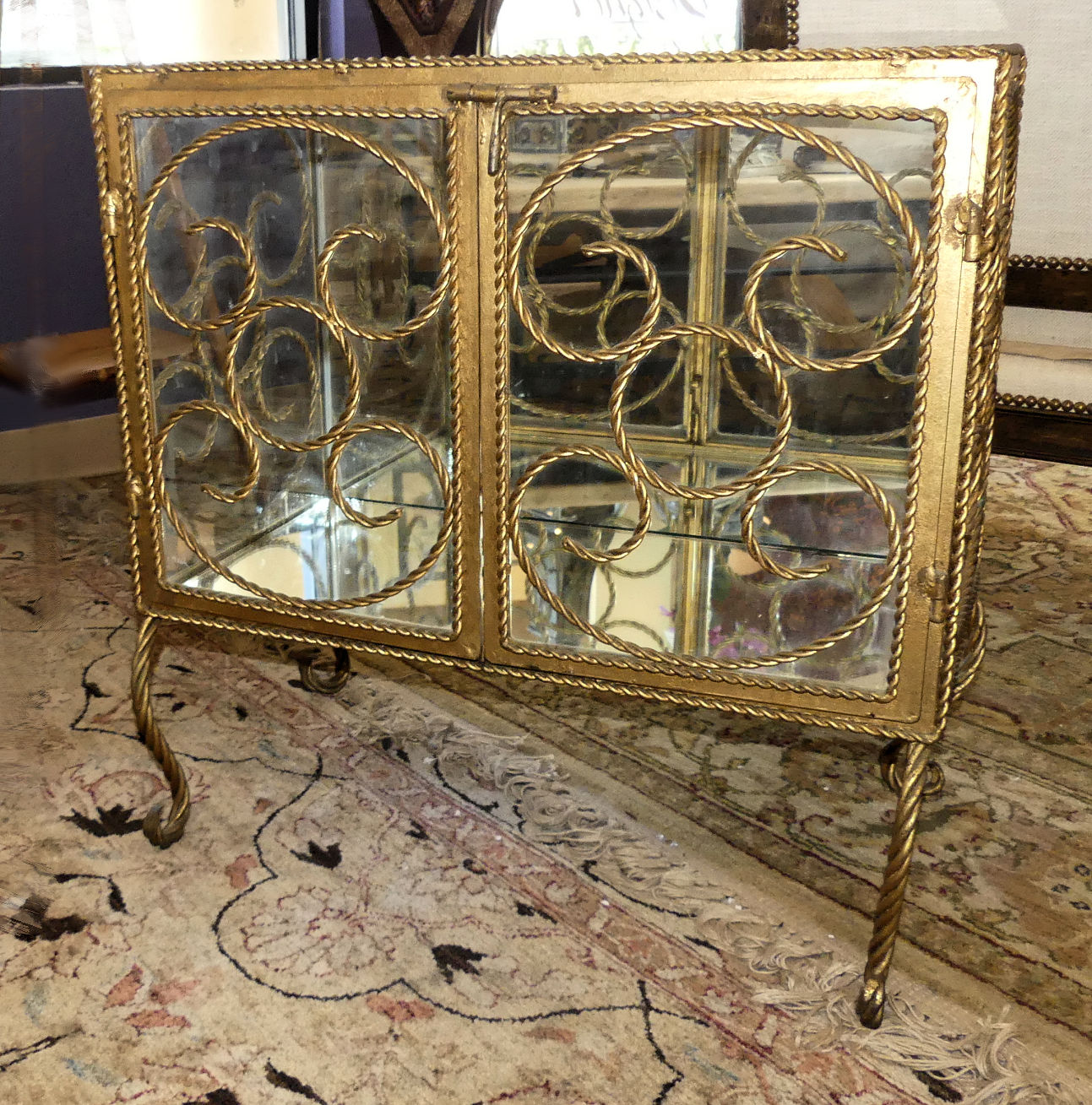 SOLD Vintage Iron Display Cabinet, Table or Nightstand