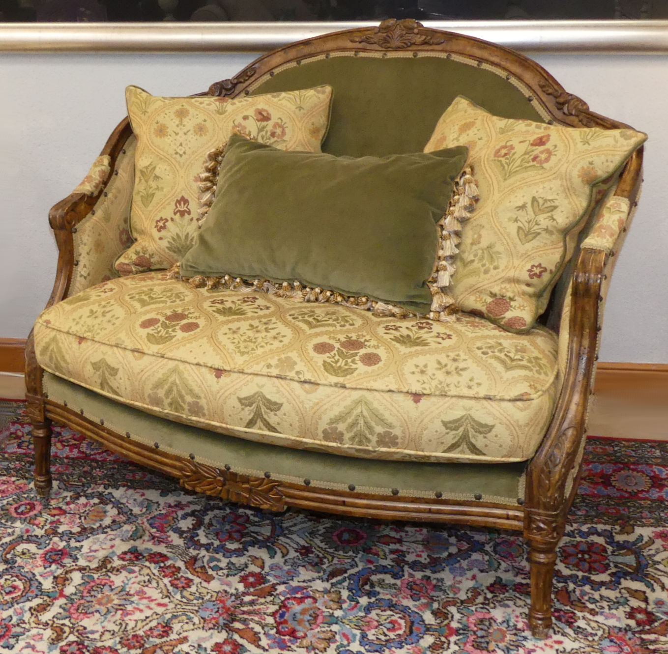 SOLD Robb & Stucky French Loveseat in the style of Carol Hicks Bolton