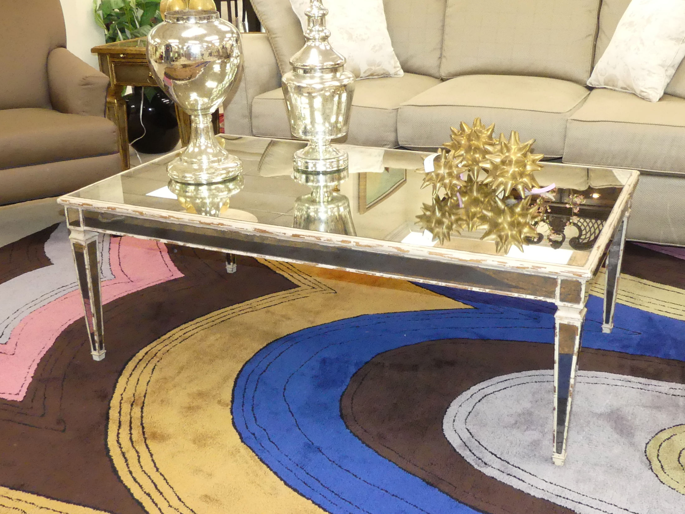 SOLD Lillian August Vivienne Mirrored Coffee Table New - Showroom Display Model