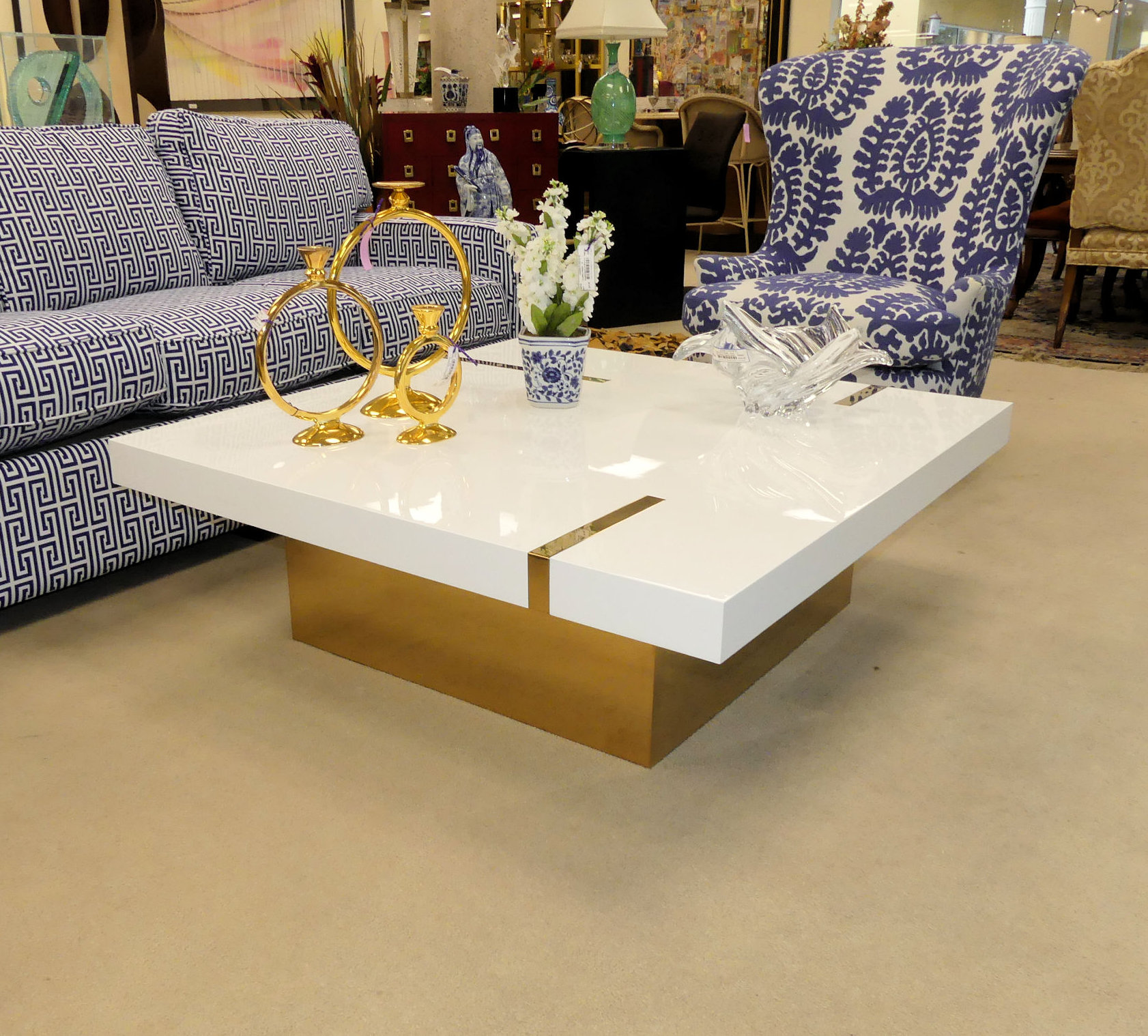 SOLD  Kelly Hoppen Band Square Coffee Table New - Showroom Display Model