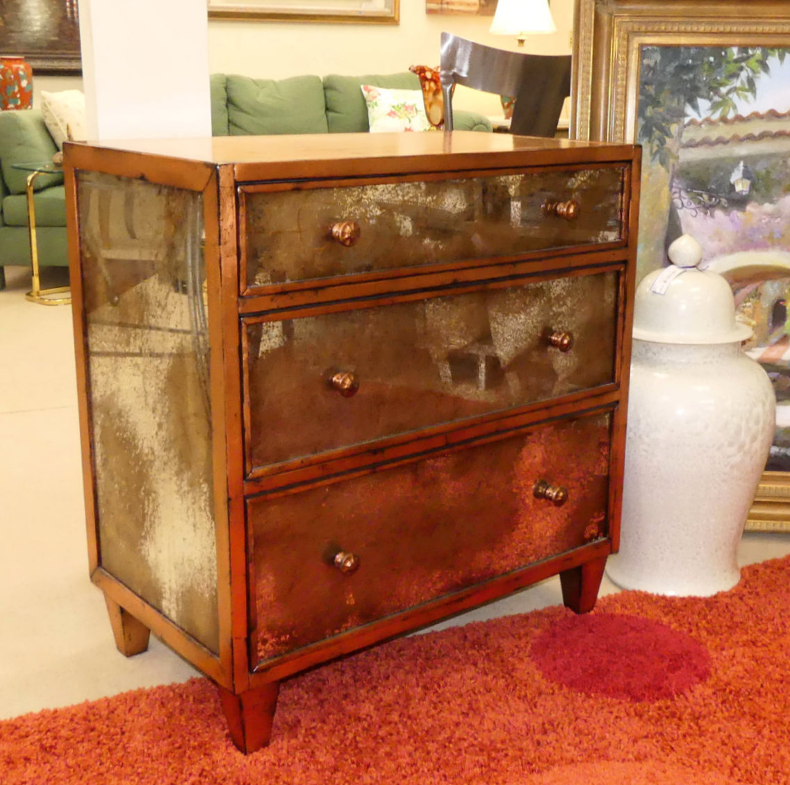 SOLD  CR Currin Mirrored Chest in Copper New - Showroom Display Mode