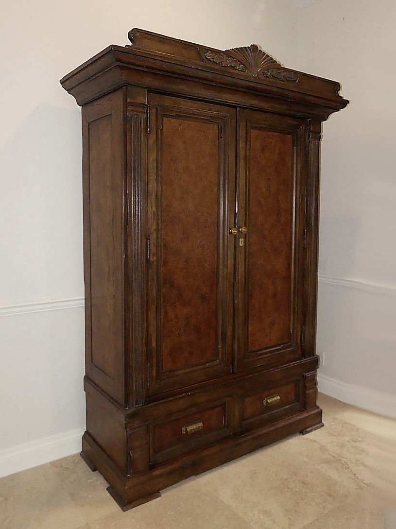 SOLD Ralph Lauren Solid Oak Flat Screen Armoire Cabinet with Tooled Leather Accents