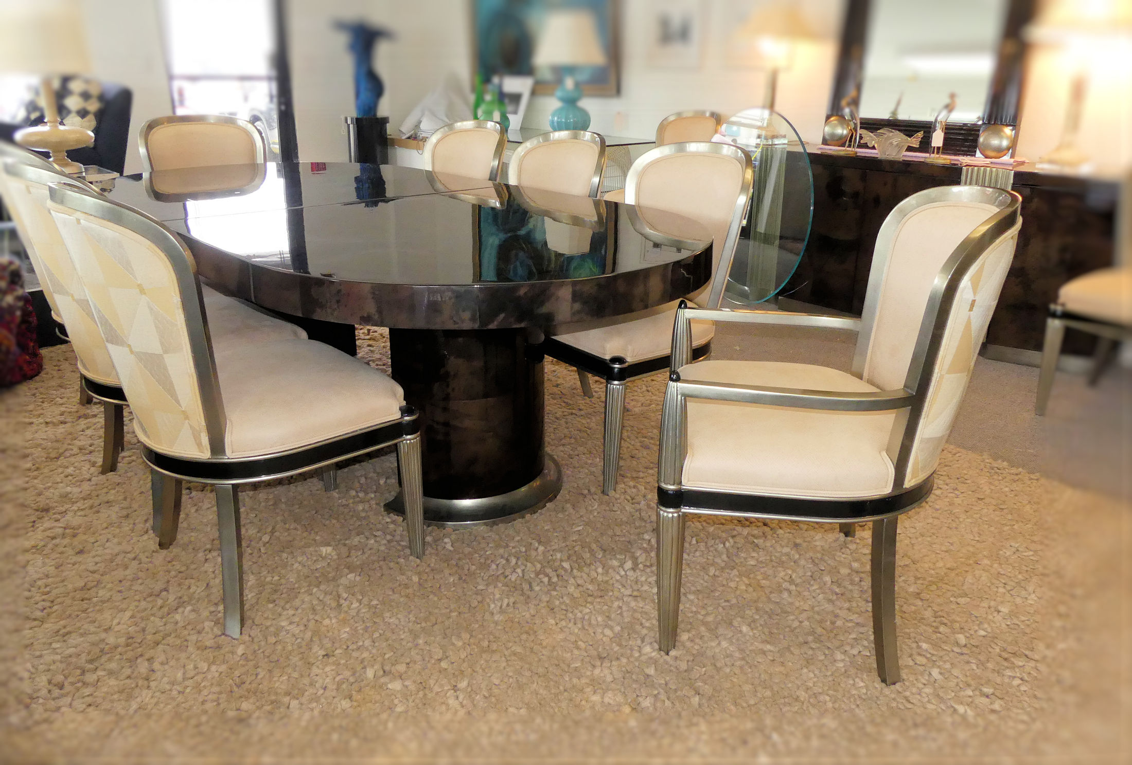 SOLD  Jimeco Lacquered Goatskin Dining Set - Made in Colomba Table plus 10 Chairs