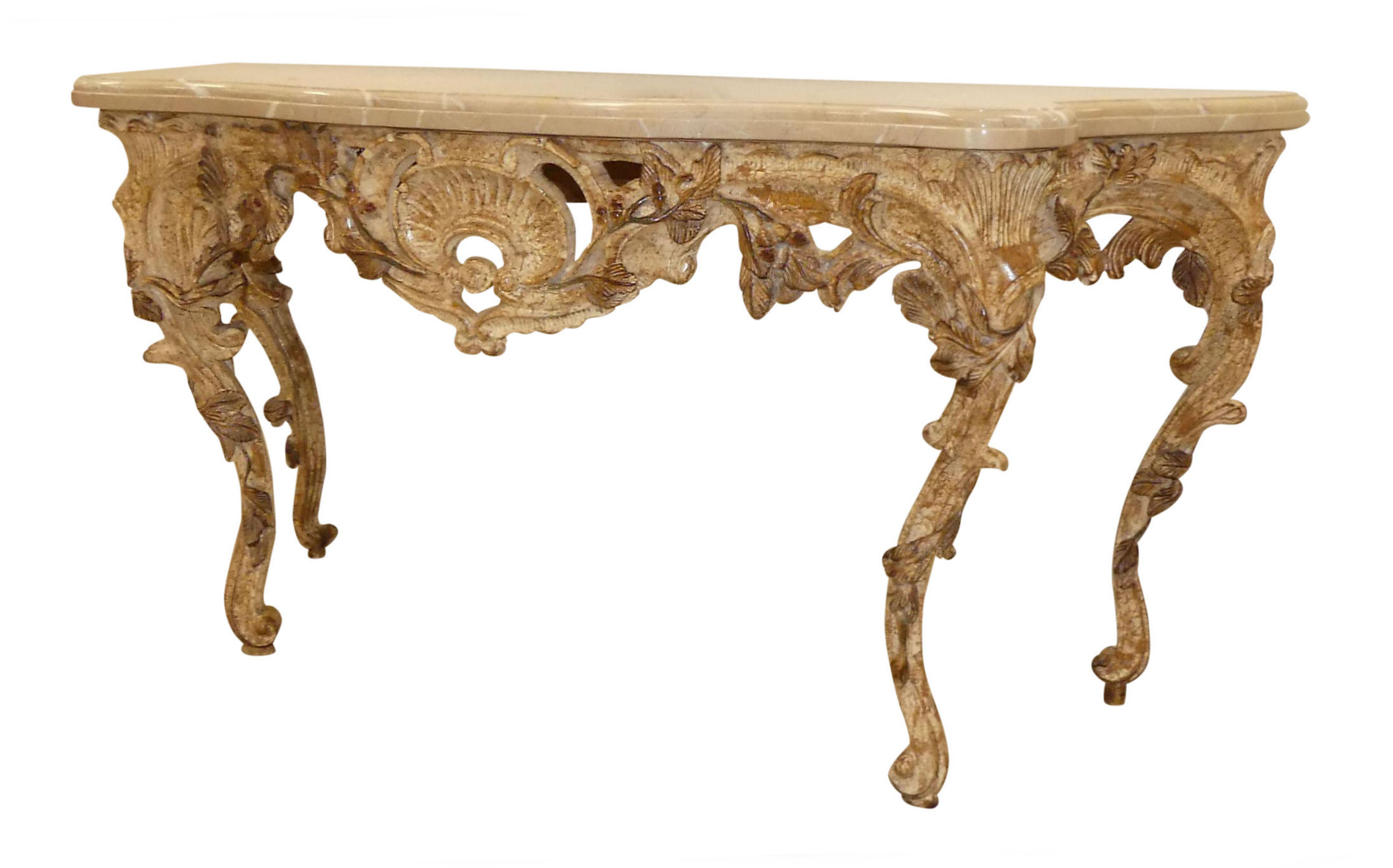 SOLD  Marble Top French Transitional Carved Wood Console Table