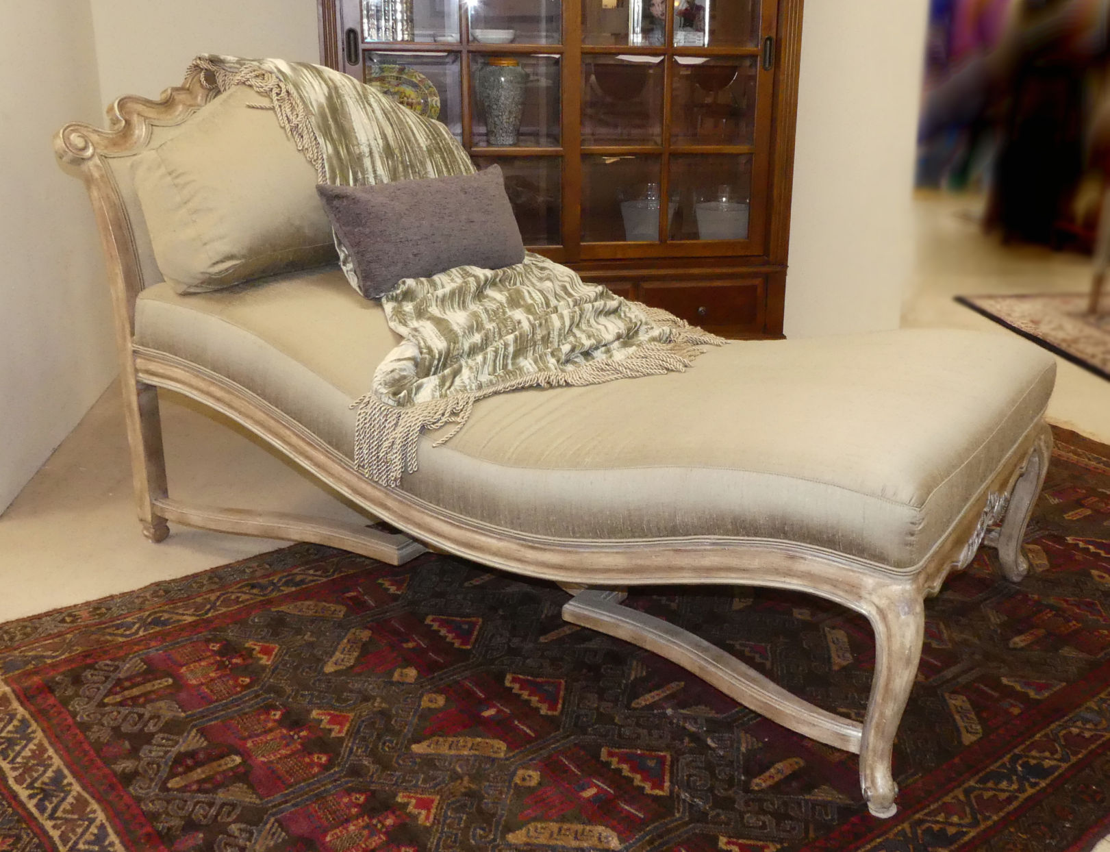 SOLD French Transitional Silk Upholstered Chaise Lounge