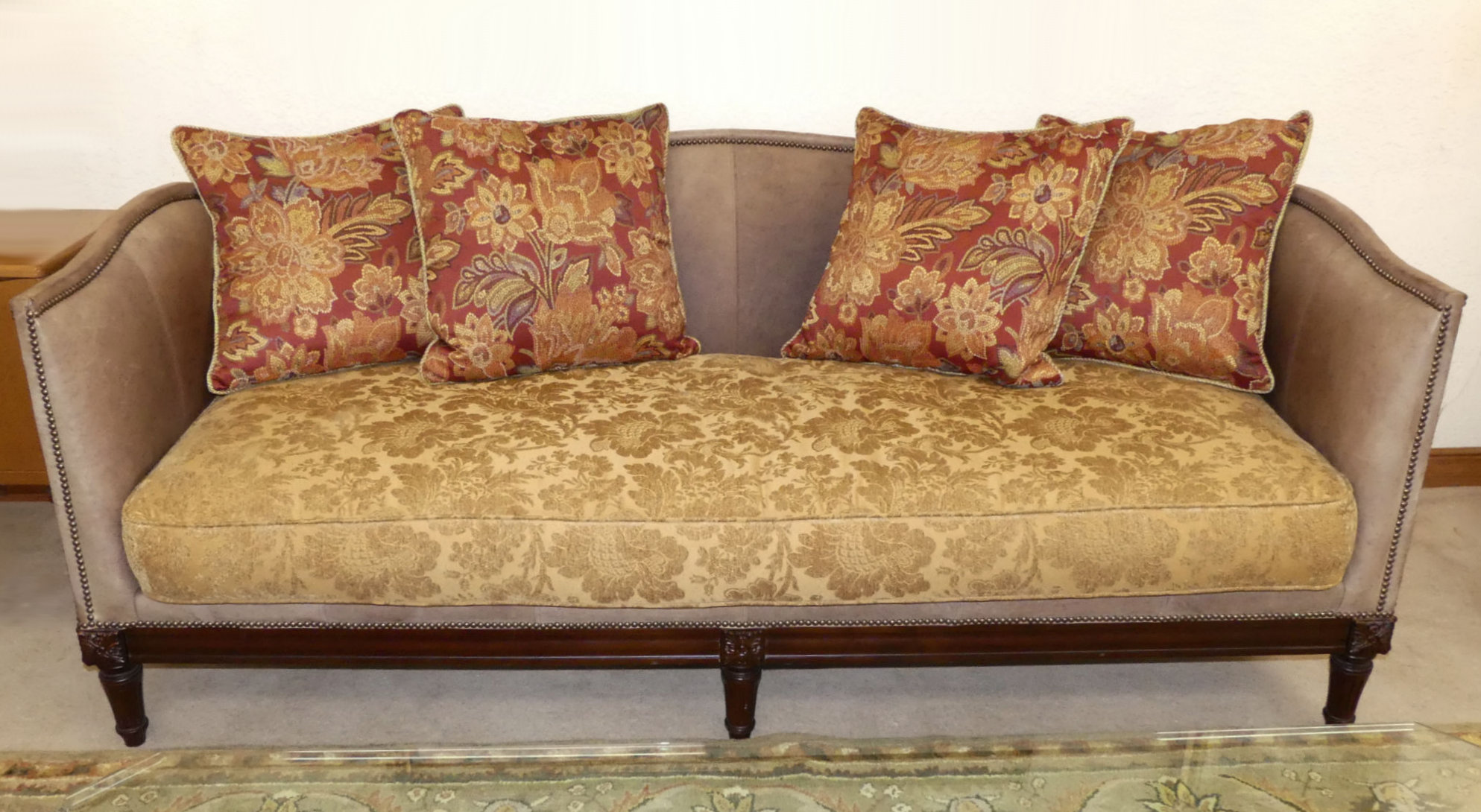 SOLD Lillian August Leather Sofa with Soft Damask Sea
