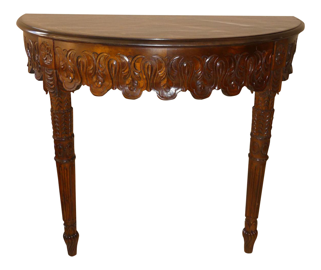 Hand Carved Italian Demilune Console Table