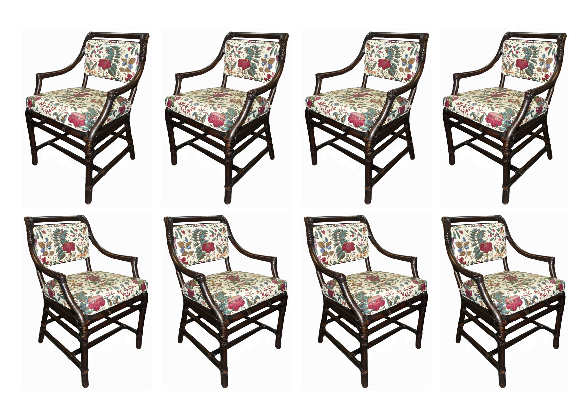 SOLD Set of 8 McGuire Rattan Armchairs