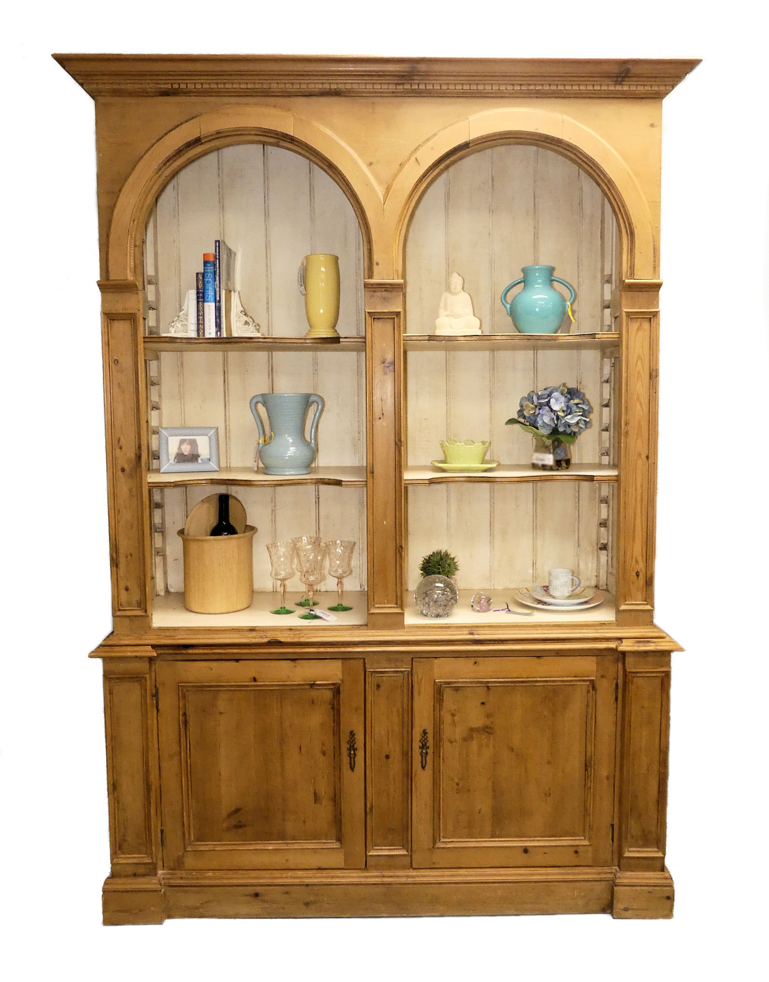 SOLD  ACP Home Interiors - Antiques & Country Pine Solid Pine Cabinet with Hutch