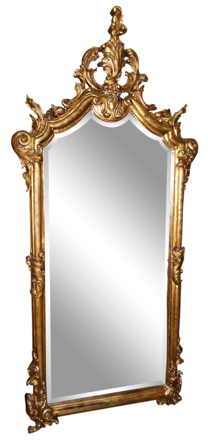 LaBarge 69-Inch Carved Gilt Wood Rococo Mirror - Made in Italy