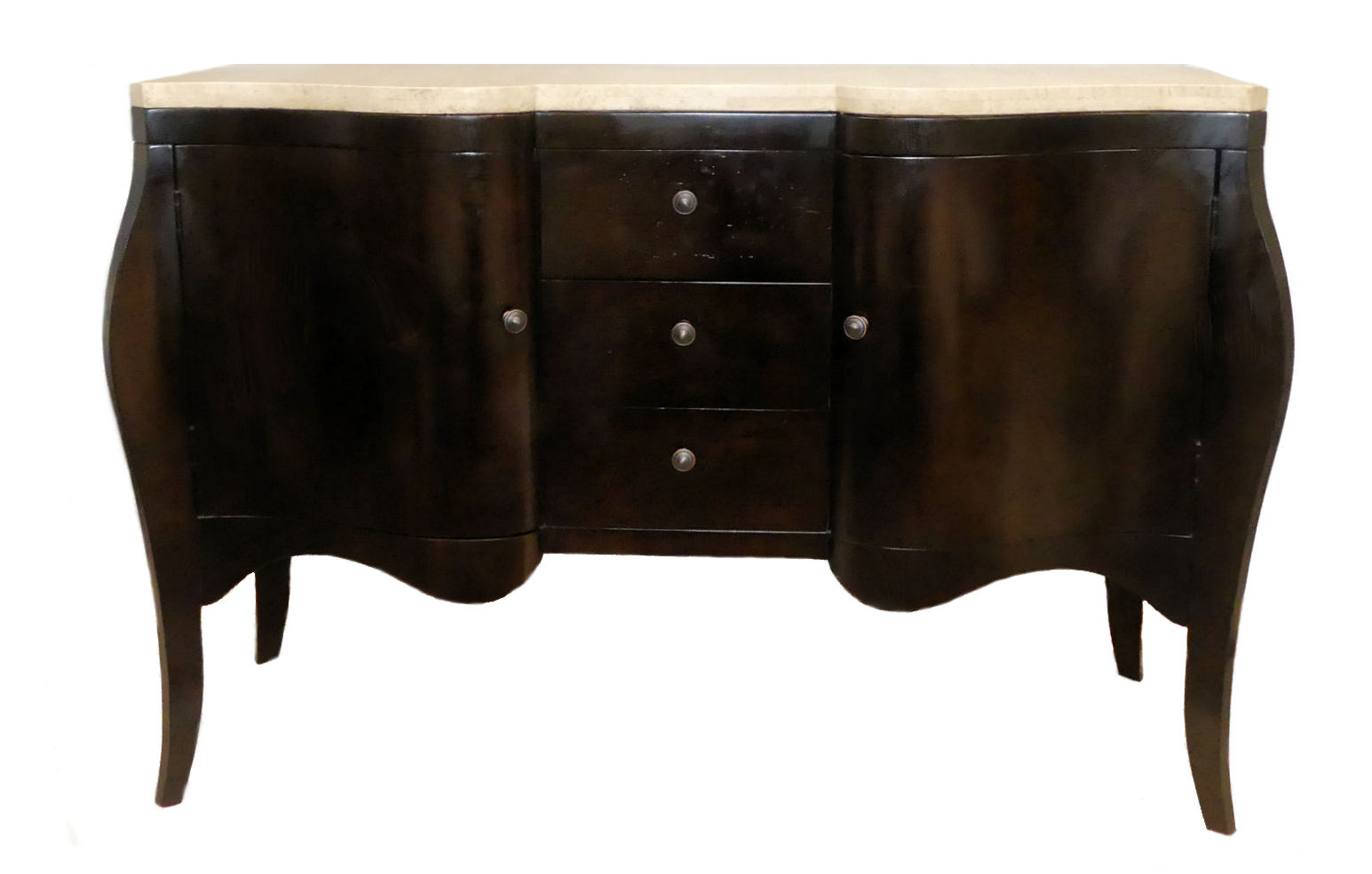 SOLD  Contemporary Serpentine Stone Top Sideboard or Buffet