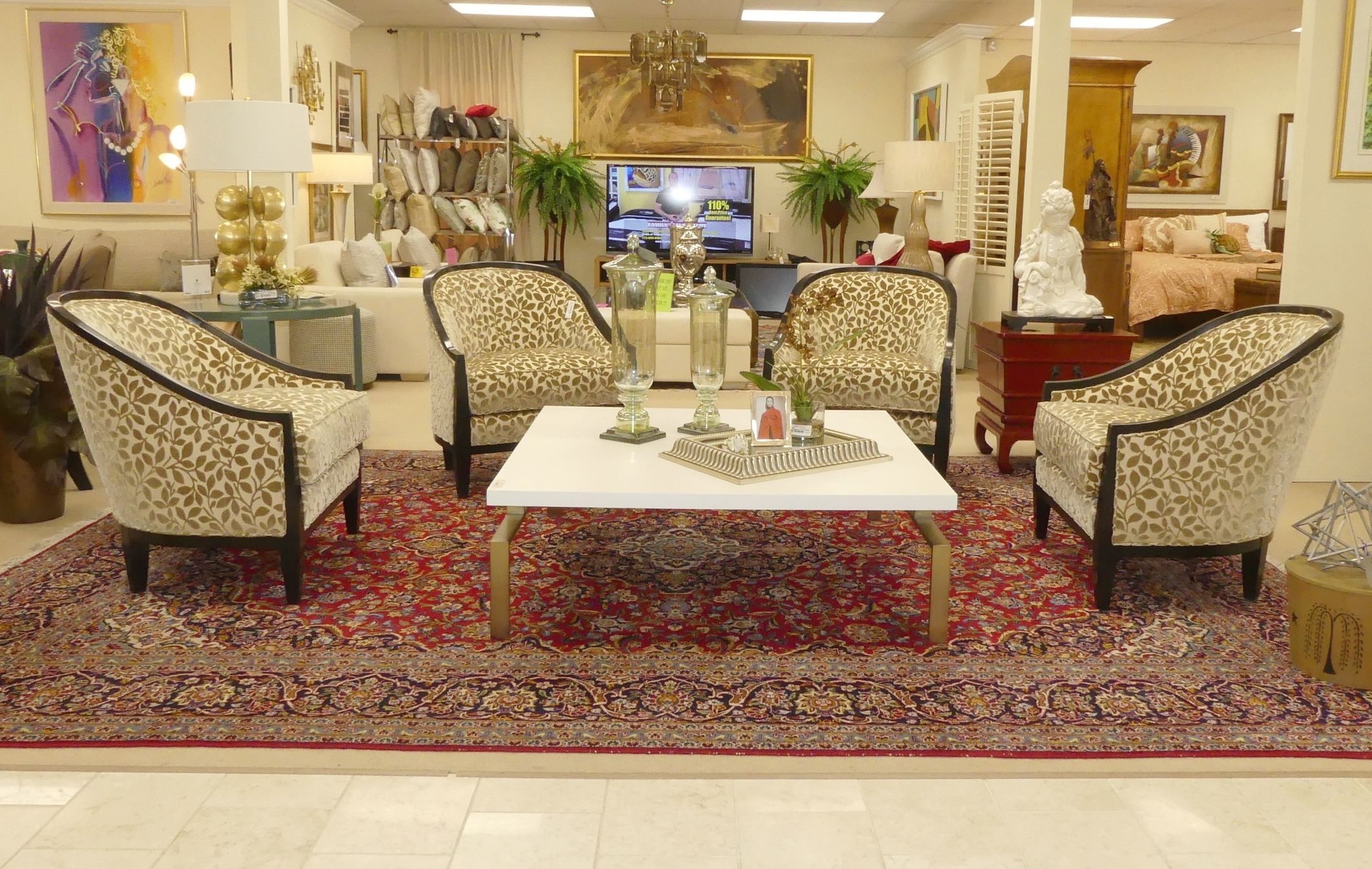 Sold Swaim F844 Lounge Chairs - Upholstered in Kravet Fabric