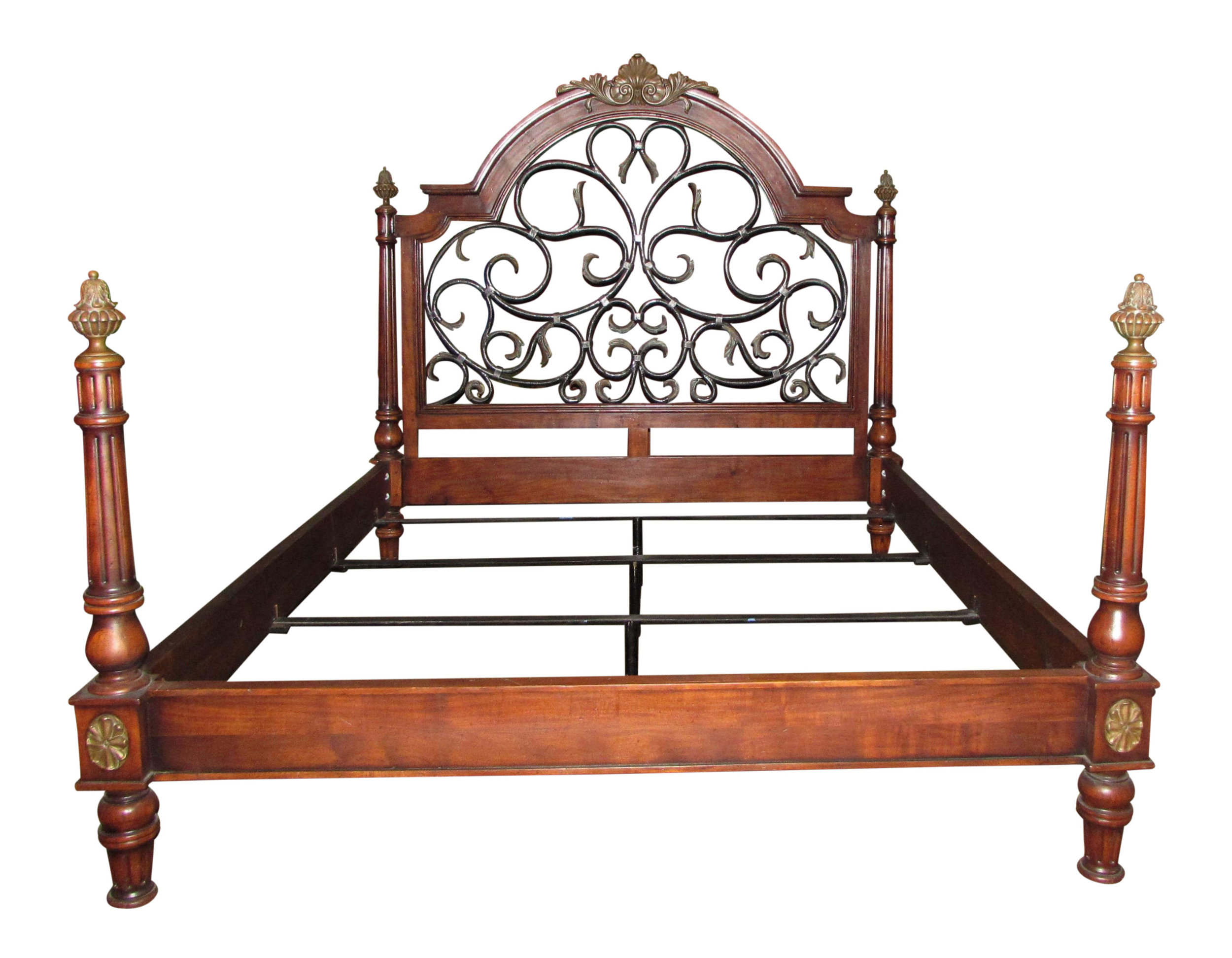 SOLD Mahogany Iron & Brass California King Poster Bed Showroom Floor Sample