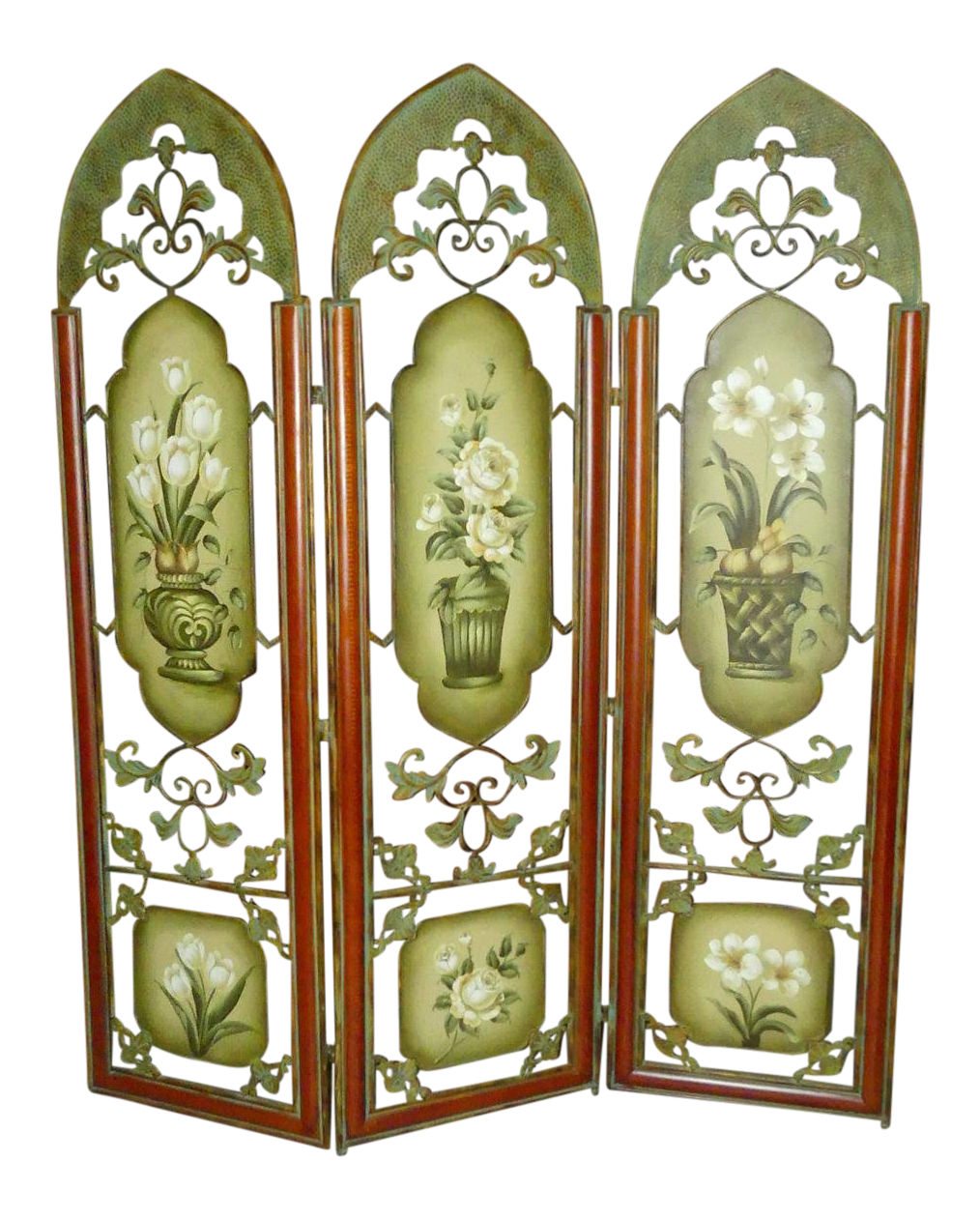 60-Inch Painted Metal Floor Screen or Room Divider  Perfect size for a queen size headboard