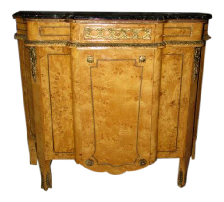 Marble Top Birdseye Maple Sideboard Cabinet