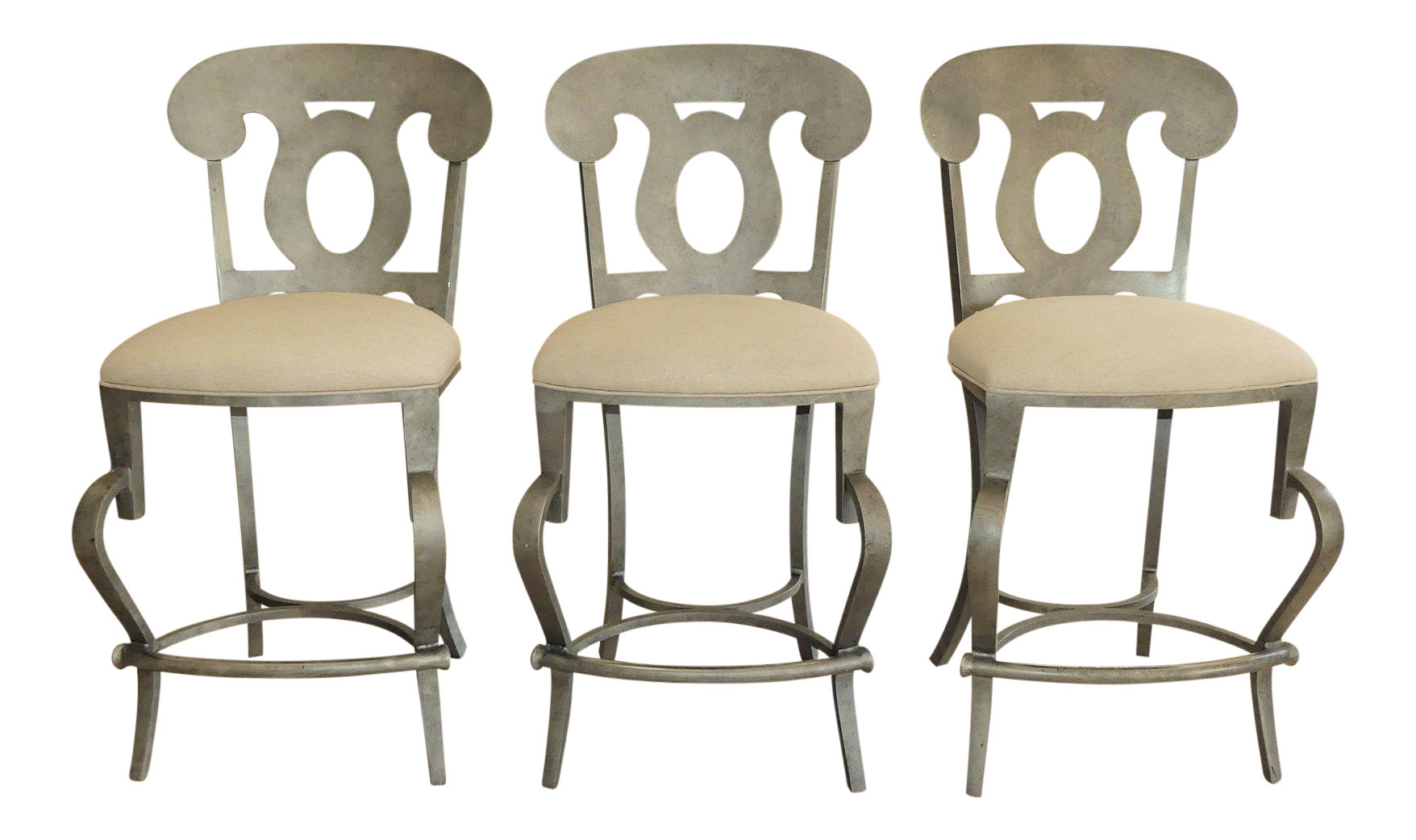 Sold Set of 3- Modern Biedermeier Style Metal Counter Height Bar Stools