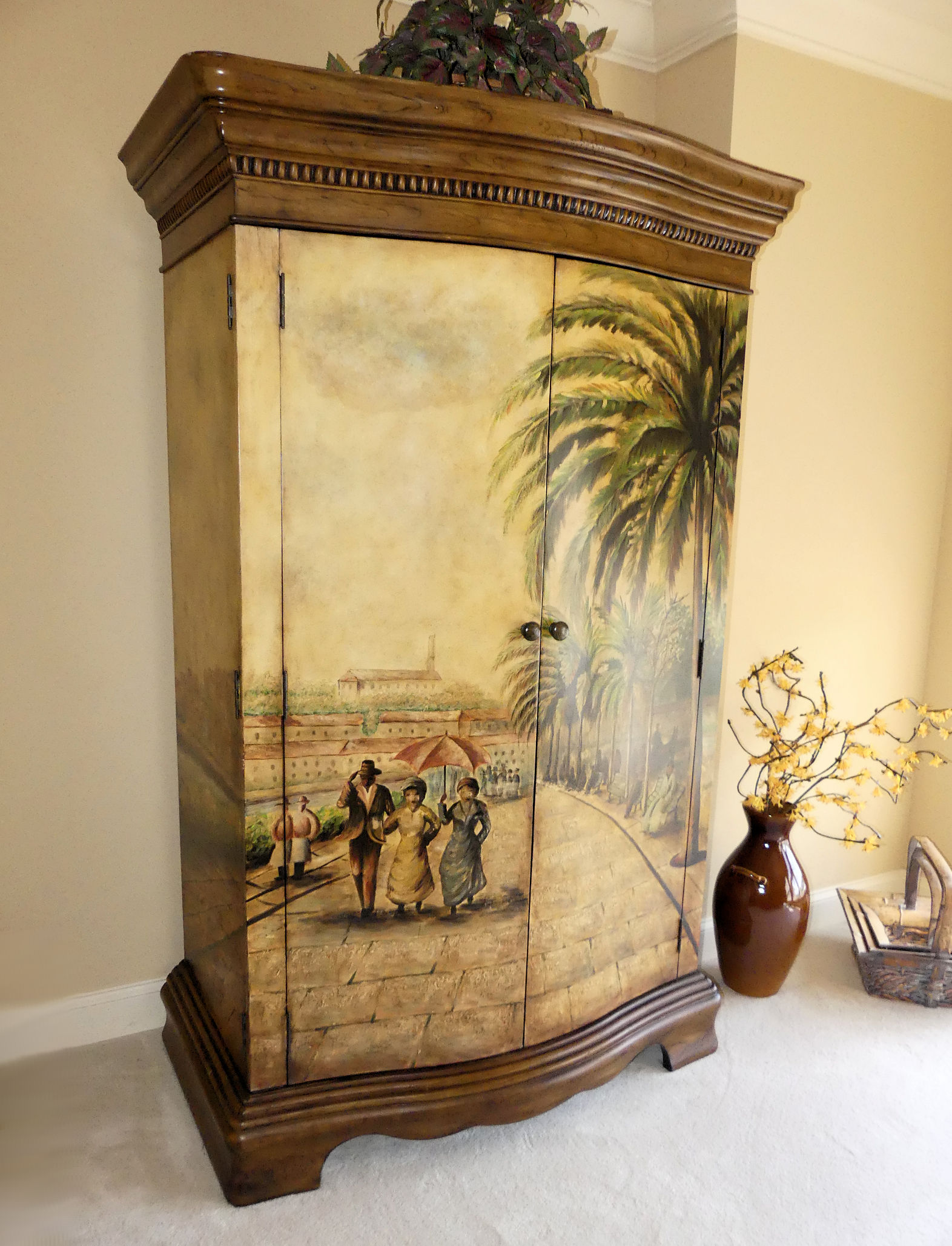 SOLD Hooker Seven Seas British West Indies Paint Decorated Armoire