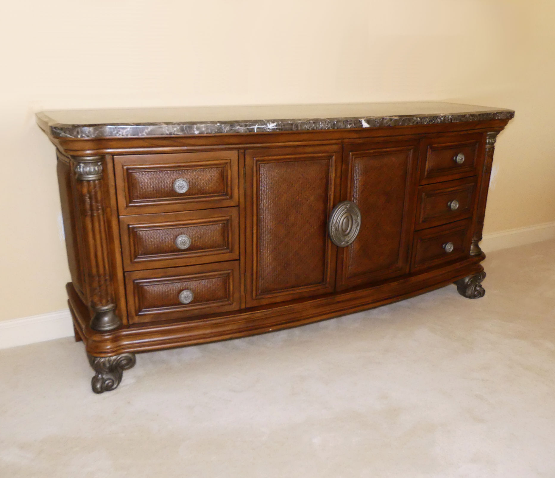 SOLD Collezione Europa Marble Top Dresser with Rattan Accents