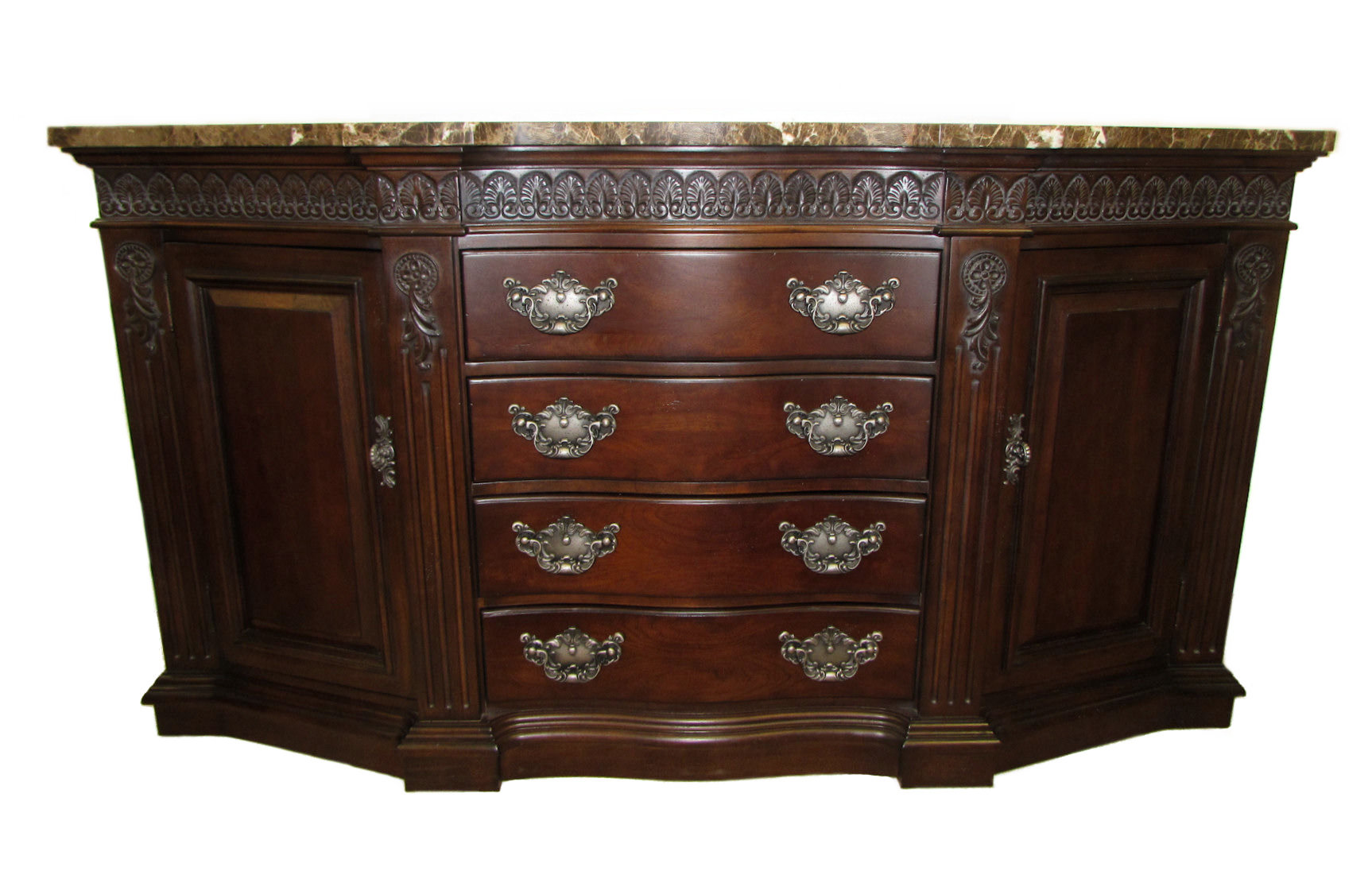 SOLD Bernhardt Marble Top Shaped Buffet or Credenza