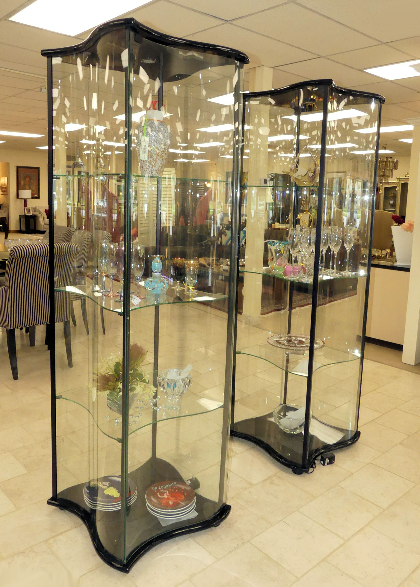SOLD Wave Glass Curio Display Cabinet
