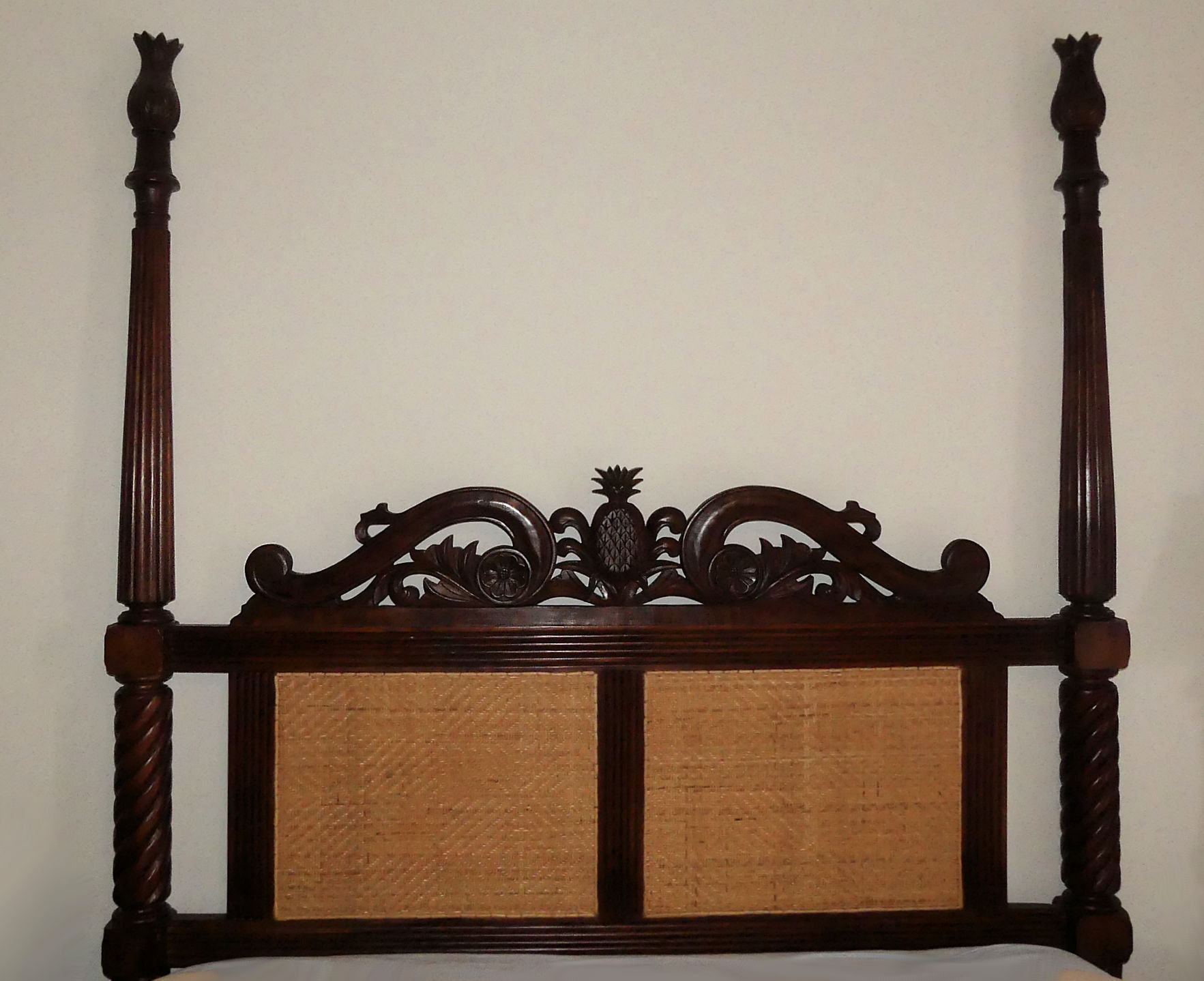 SOLD  Plantation Style Queen Headboard with Pineapple Carvings
