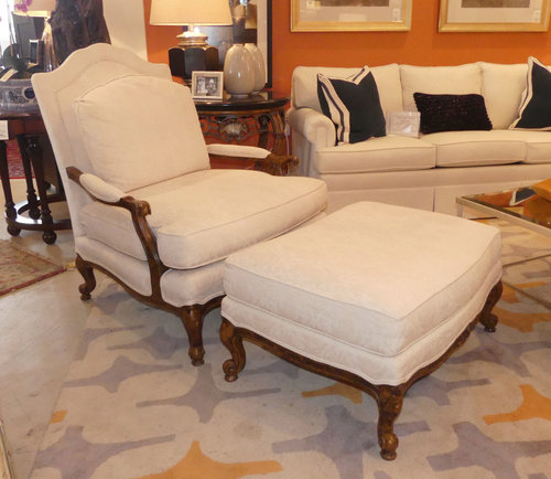 SOLD Taylor King Bergere Chair with Ottoman