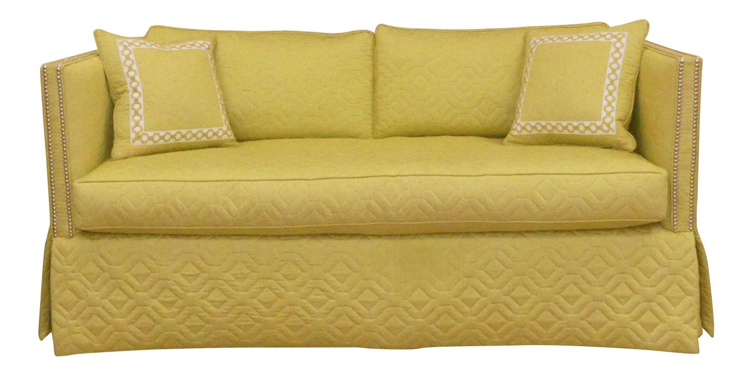 SOLD Wesley Hall Contemporary Skirted Blaine Sofa with Silver Nailheads