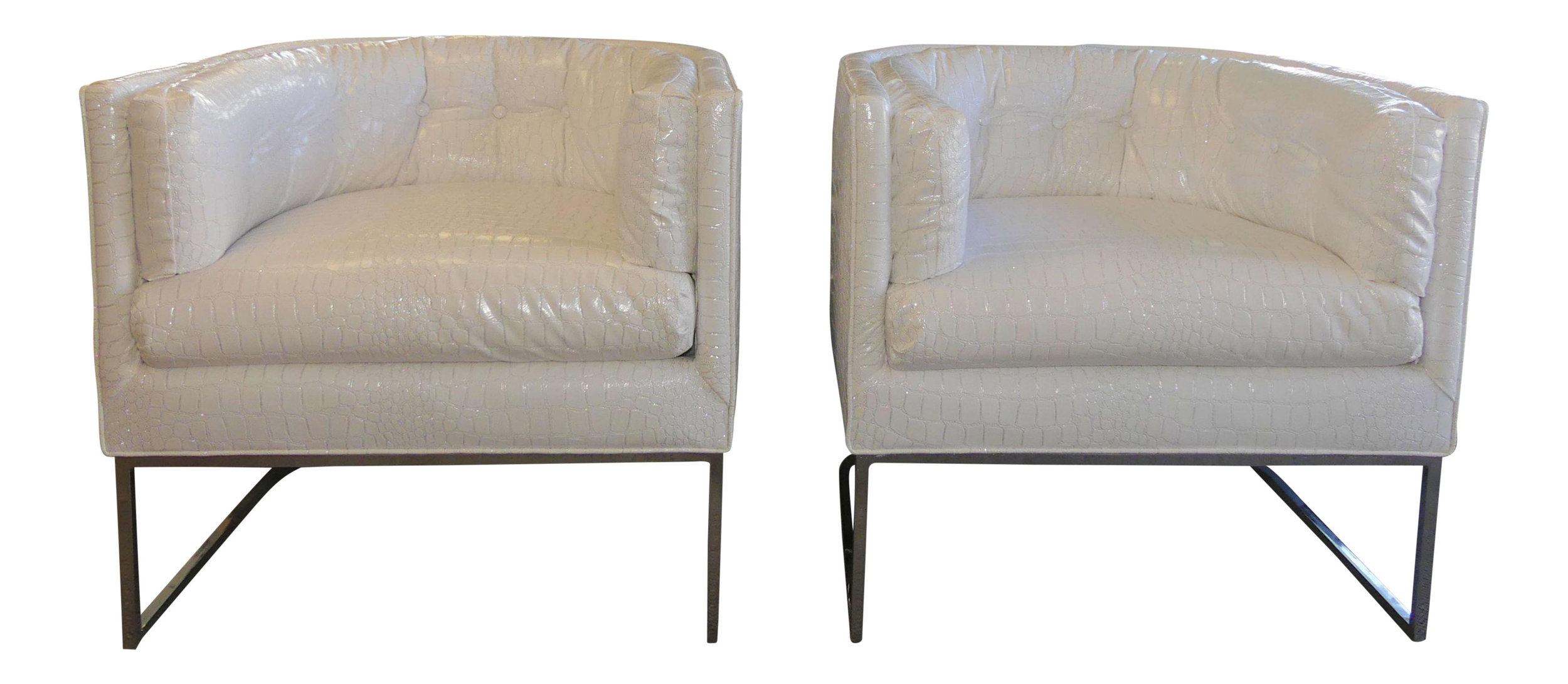Pair of MCM Club Chairs with White Crock Embossed Faux Patent Leather