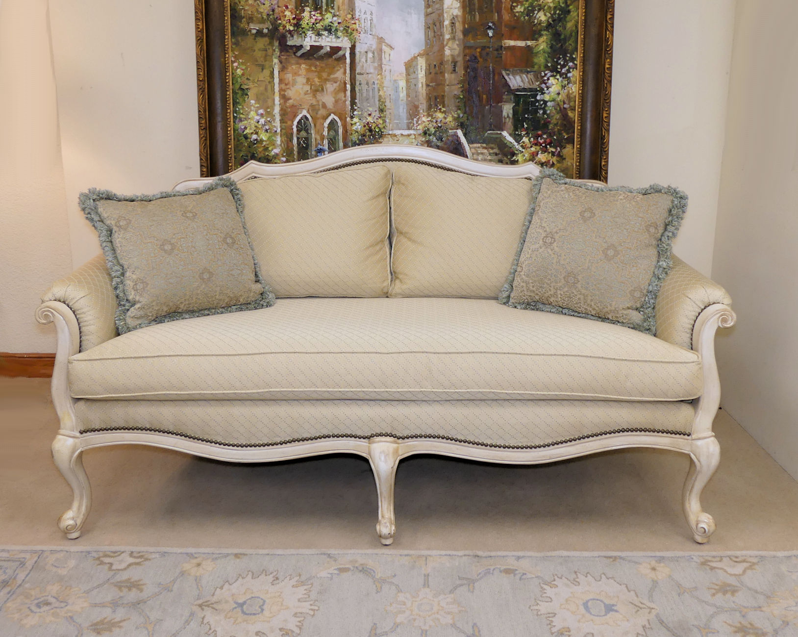 SOLD Thomasville Exposed Wood French Transitional Sofa
