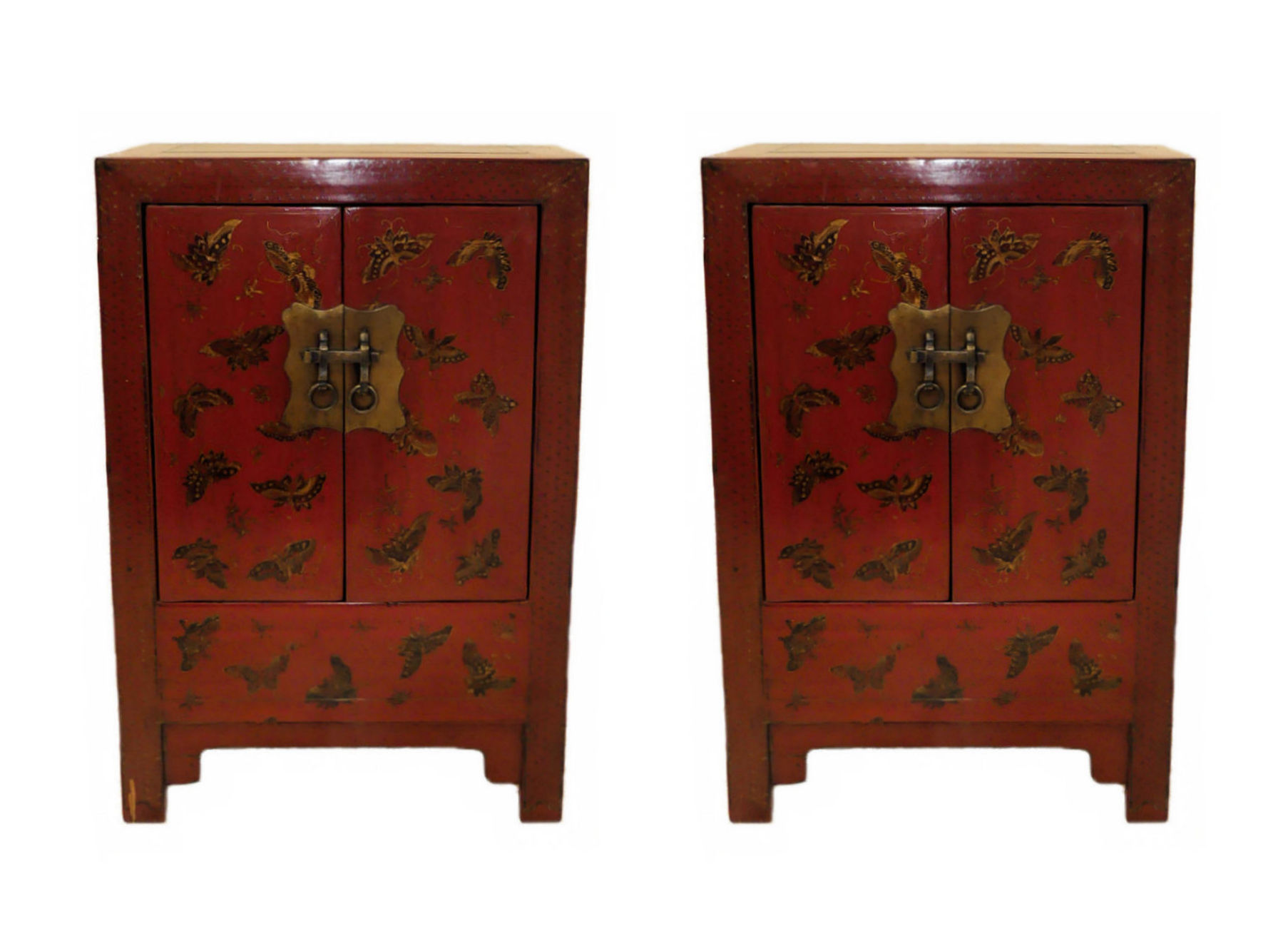 SOLD Pair of Paint Decorated Asian Chinoiserie Nightstands or End Tables