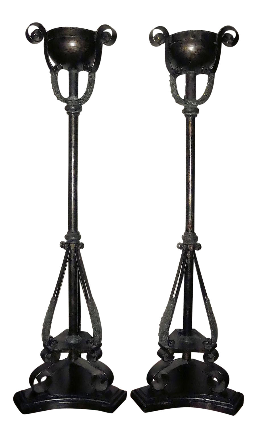 Pair of 2 Tall Maitland Smith Iron/Metal & Bronze Candle Holders