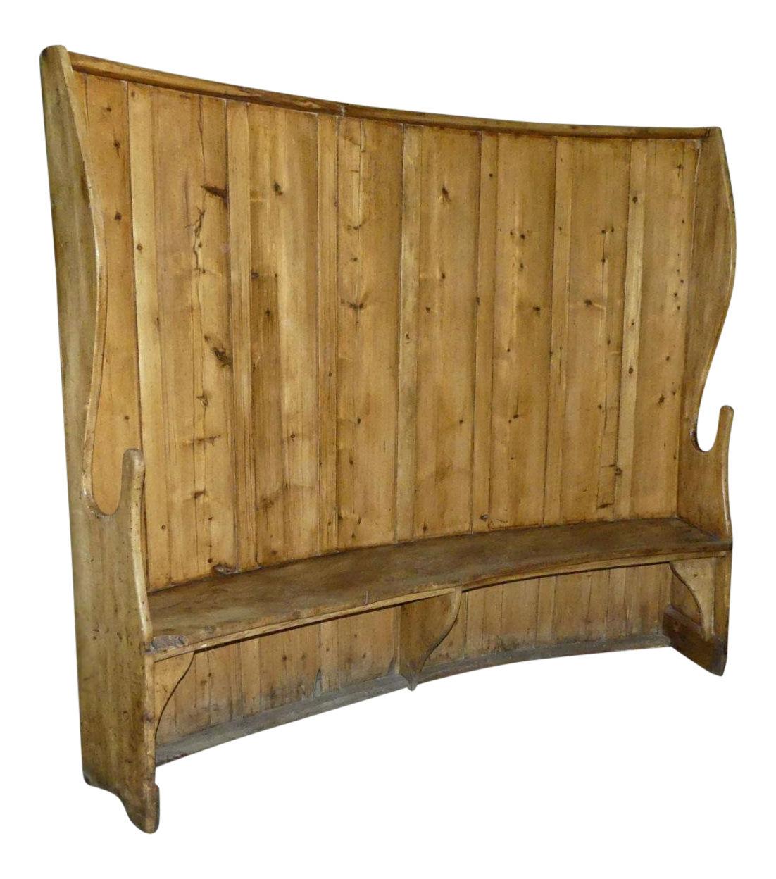 SOLD Antique High-Back Pine Bench