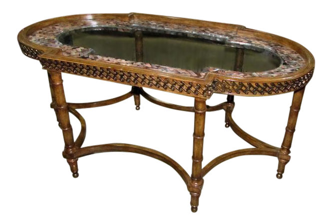 Maitland Smith Hand Carved Cocktail Table with Mother of Pearl Inlay