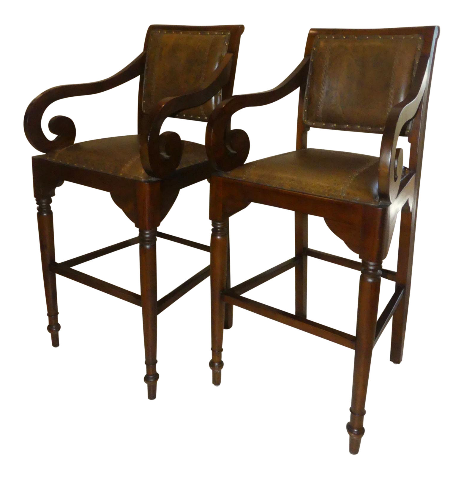 SOLD Pair of 2 British Colonial Leather Bar Stools