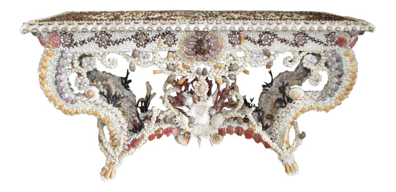 French Louis XV Seashell Encrusted Console Table
