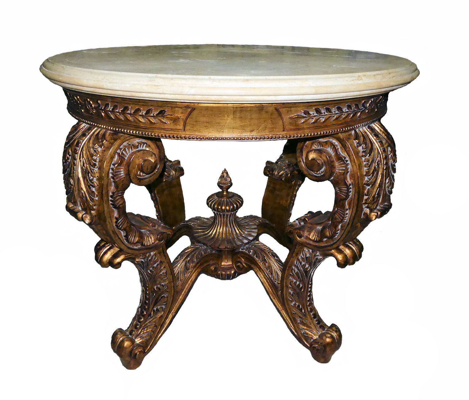 Hand Carved Gilt Wood Marble Top Center Table