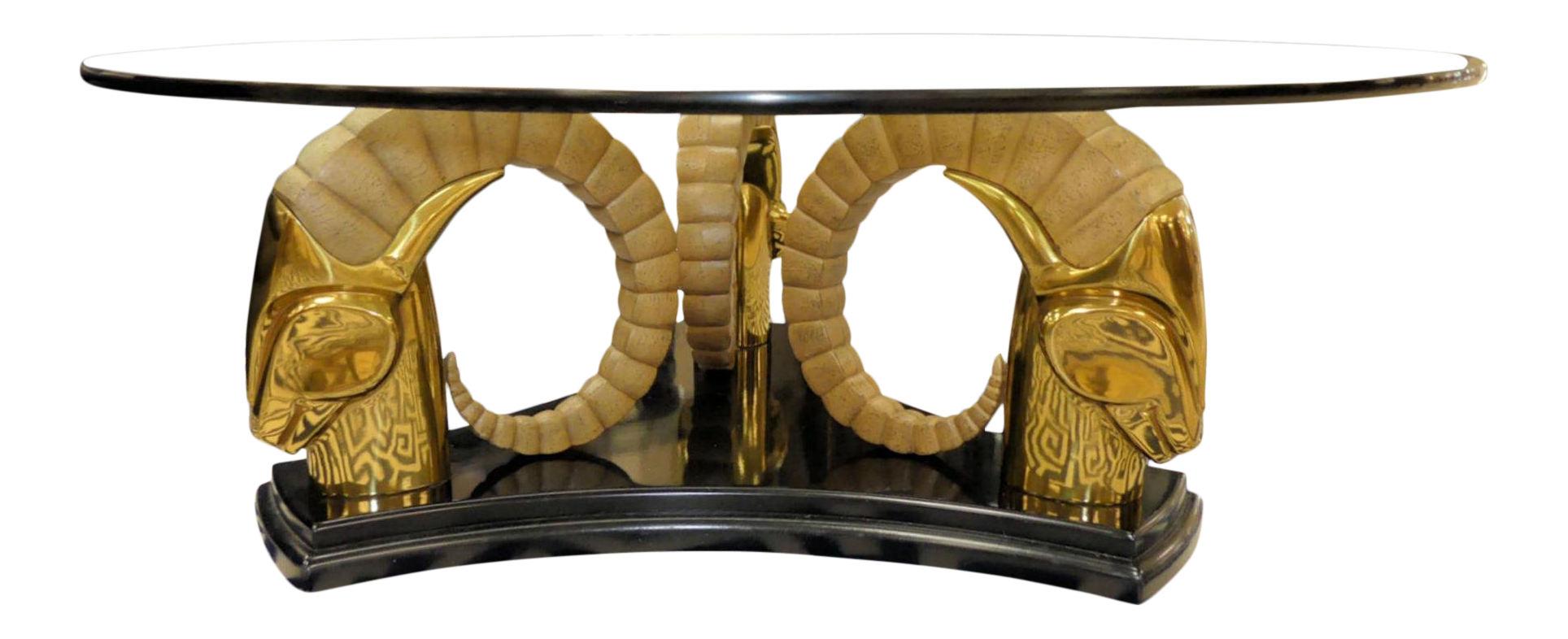 SOLD Drexel Et Cetera Brass Ram Head Coffee Table