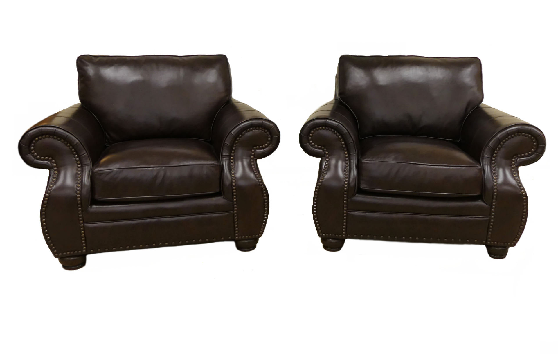 SOLD Pair of 2 Bernhardt Furniture Leather Club Chairs